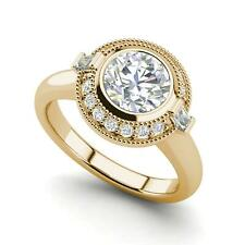 Cut Diamond Engagement Ring Yellow Gold Bezel Halo 1.2 Carat Vvs1/D Round