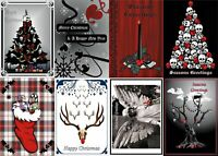 Emo Goth Christmas Glossy Finish Card Topper - Crafts Embellishment