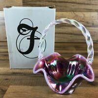 Fenton Art Hand Painted Iridescent Glass Basket Flowers Red Pink Purple USA 2919