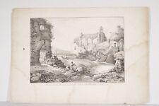 Litho XIX° C de Lasteyrie/ Thiénon Ruines Commanderie Ordre de Malte CLISSON 44