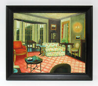 View of Sitting Room 20 x 24 Art Oil Painting on Canvas w/Custom Frame