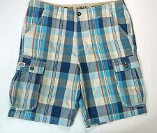 Old Navy Blue & Red Check Mens Cargo Shorts Size 37 100% Cotton