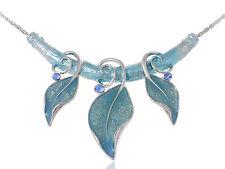 Turquoise Color Painted Enamel Vine Leaf Gypsy Blue Gems Custom Pendant Necklace