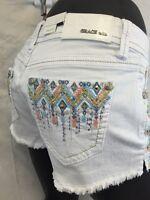 GRACE in LA White Jean Shorts COLORFUL Stitch Stones  24 25 26 27 28 29 30 NWT