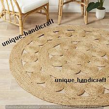 "7""Feet Indian Braided Jute Rug Round Floor Mat Handmade Reversible Floor Rug Mat"