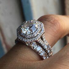 Double Row Hexagonal Halo - Round Center Diamond Engagement Ring- Pave Diamond