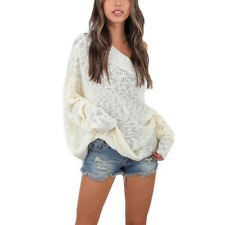 Women Off Shoulder Knitted Jumper Oversize Baggy Sweater Tops Blouse Plus Size