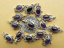 Amethyst Sterling Silver Single loop for earrings 6x8 mm stones 2-total