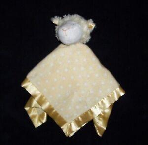 FLAW Boppy Little Lamb Yellow White Dots Minky Satin Security Blanket Baby Lovey