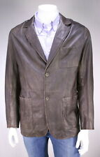 * GIMO'S * Brown Tumbled Leather Light 2-Btn Blazer Jacket 44/Large