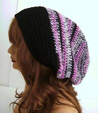 HOT PINK BLACK GRAY MULTI COLOR BAGGIE BAGGY SLOUCHY BEANIE HAT TAM CAP RASTA