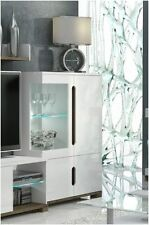 Lorenz High Gloss White Low Display Cabinet Unit With LED Lights