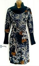 EVENTI size 12 14 NEW BNWT knit roll neck jumper dress floral animal casual