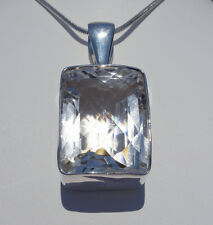 Sizzling Super CLEAR QUARTZ Faceted Crystal Custom Sterling Silver Pendant