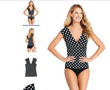 Lands' End Scallop V-neck Cap Sleeve Tankini Top Swim Top Size 14 Black Dot $74.