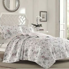 NEW Quilt Set Laura Ashley BREEZY FLORAL Pink FULL QUEEN Shams Gray Reversible