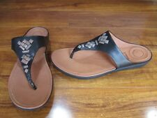 b1390702d NEW FITFLOP BANDA II TOE-POST Flip Flop Thong Sandals WOMENS sz 9 BLACK  120