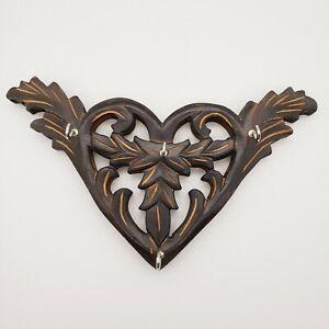 Primitive Heart Shaped Key Jewelry Hook Holder Wood Black Finish Farmhouse Boho