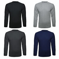MENS CABLE KNITTED PLAIN JUMPER  PULLOVER GREAT WARM WINTER KNITTED SWEATER