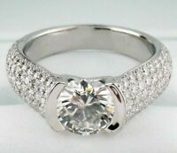 3.00 ct VVS1/D diamond engagement solitaire ring sterling silver