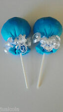 TURQUOISE BLUE MINKY SOFT BOY SCRATCH MITTEN LOLLIPOPS  BABY SHOWER DIAPER CAKE