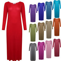 Women's Girls Long Sleeve Summer Stretch Plain Bodycon Midi Maxi Dress All Sizes
