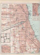 CHICAGO Chi-Town Loop ear North Side STADPLAN 1897 CIRY MAP Riverside Ravenswood
