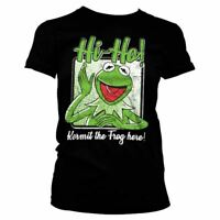 Women's The Muppets Kermit The Frog Here Black T-Shirt - Ladies Retro Movie Tee
