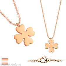 Four Leaf Clover Pendant Rose Gold IP 316L Stainless Steel with Chain Necklace