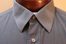 Brioni LS Button Front Shirt French Cuff Dark Gray Check sz 16.5  Italy       ZZ