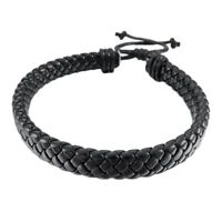 Fashion Leather Bracelet Bangle Cuff Rope Black Surfer Wrap Adjustable Jewelry