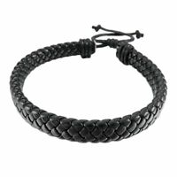 Fashion Men Women Leather Bracelet Bangle Cuff Rope Black Surfer Wrap Adjustable
