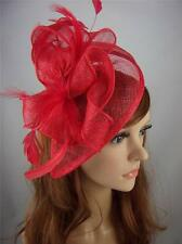 Red Sinamay & Feather Teardrop Hat Fascinator - Occasion Wedding Races
