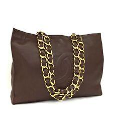 CHANEL CC Logo Lambskin Chain Large Shoulder Tote Bag Brown /337