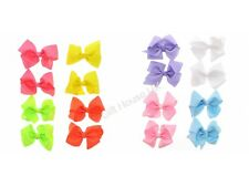Neon Pastel Assorted Hair Clips Bows Style Double Ribbon Party Fancy Dress b4