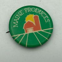 "Vintage Maine Produces Barn Farm 5;10 1-1/2"" Button Pin Pinback   S5"