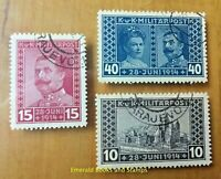 EBS Austro-Hungarian Empire Bosnia 1917 - Archduke Franz Ferdinand - 121-123 CTO