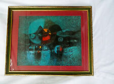 """""""Village"""" Superb Abstract Lithograph Print Signed By LeBadang-Matted & Framed"""