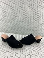 ALDO Black Suede Block Heel Open Toe Slip On Mule Heels Women's Size 10