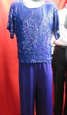 1980's ROYAL FEELINGS Royal Blue Silk Sequin Top Cocktail Party Holiday SizeXL