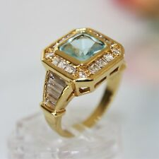 Aquamarin blau türkis Damen Herren Ring Gold 10K GF (375)  gest  Gr 58 Ø18,4mm