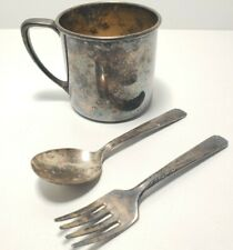 Vintage Oneida Silver Plated Primary Set Child's Cup Baby Spoon and Fork
