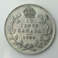 1934 Canada Ten 10 Cents Silver Canadian Almost Uncirculated Key Date Dime A453