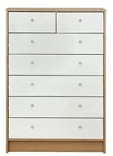 Home Malibu Gloss 5+2Drw Chest of Drawers - White &Oak