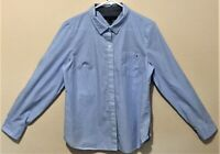 Tommy Hilfiger Womens Blue & White Striped L/S Roll Tab Button-Front Shirt Sz M