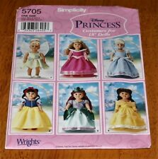 Simplicity Pattern #5705 - 18 Inch Doll Clothes - Disney Princesses New/Uncut