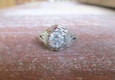 Vintage Art Deco 0.61 ct Diamond 14 kt White Gold Filigree Ring Size 5.75
