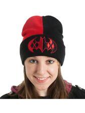Batman's Classic Harley Quinn Logo Cuff Slouch Beanie Knitted Winter Hat Red Blk