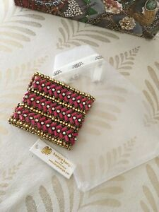 NWT Amrita Singh $100 Thompson Fuchsia/Gold Stretch Bracelet Sheane Marie 1204