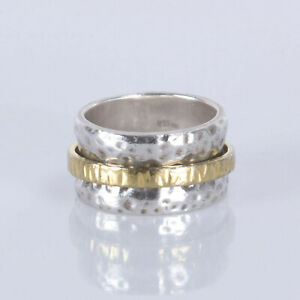 Silpada 925 Sterling Silver Two Tone Hammered Spinner Band Ring Size 8 R1476